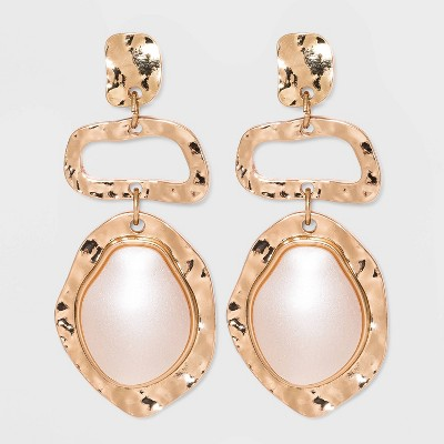 Organic Textured Charm with Simulated Pearl Cabochon Drop Earrings - A New Day™ Ivory