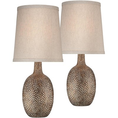 360 Lighting Modern Accent Table Lamps Set of 2 Hammered Antique Bronze Natural Linen Tapered Shade for Living Room Family Bedroom