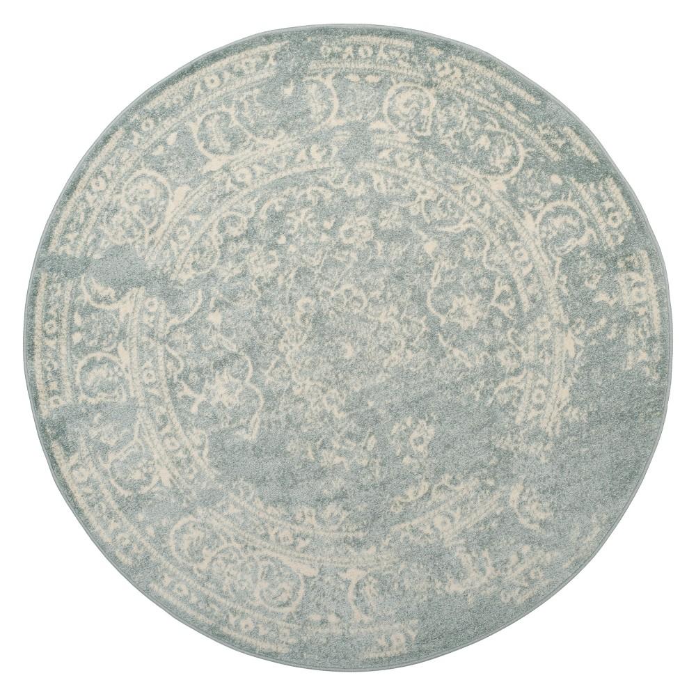 6' Medallion Round Area Rug Slate/Ivory (Grey/Ivory) - Safavieh