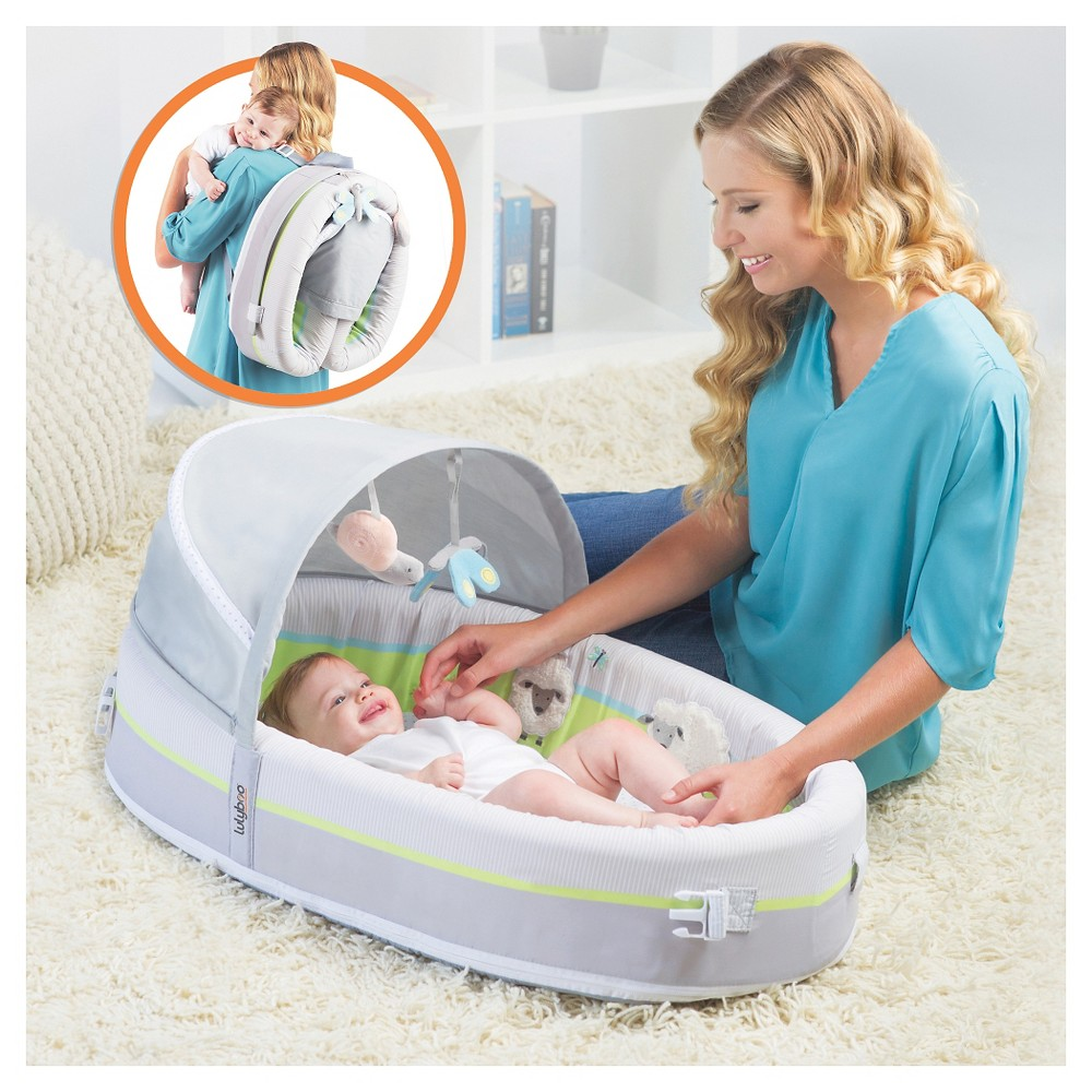 Lulyboo Baby Lounge To-Go Premium Travel Bed, Multi-Colored