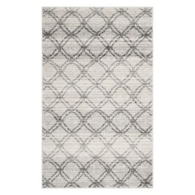 2'6 X4' Geometric Accent Rug Silver/Charcoal - Safavieh