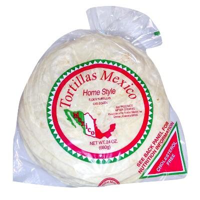 """Tortillas Mexico 8"""" Home Style Flour Tortillas - 24oz/12ct"""