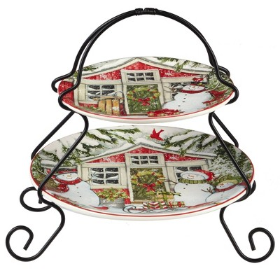 Earthenware 2-Tier Snowman's Farmhouse Serving Tray with Metal Stand- Certified International