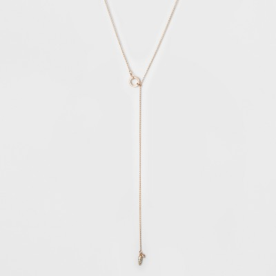 Circle Pull Thru And Stone Drop Long Necklace   A New Day™ Rose Gold by A New Day
