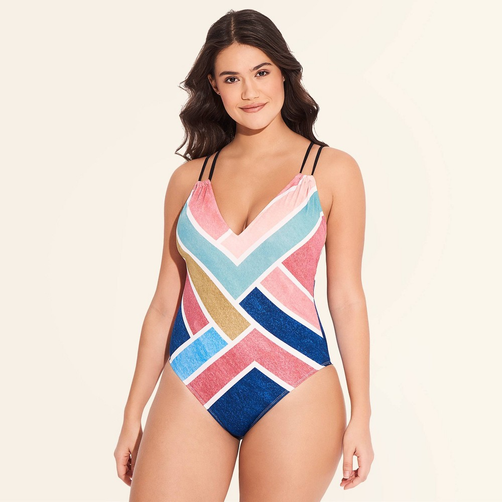 Women's Slimming Control One Piece Swimsuit - Beach Betty By Miracle Brands L, Multicolored