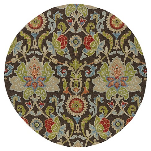 Kaleen Rugs Home And Porch Flower Indoor Outdoor Area Rug Chocolate