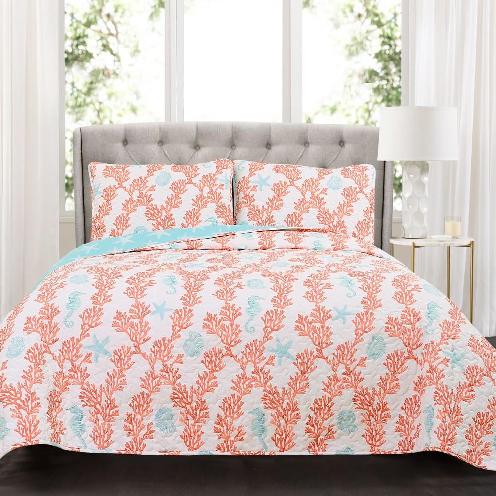 Blue & Coral Dina Quilt Set (King) - Lush Decor, Pink