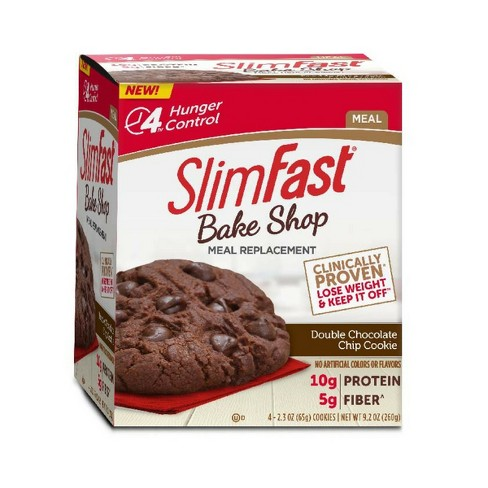 SlimFast Bake Shop Meal Replacement Cookie - Double Chocolate Chip - 4pk - image 1 of 3