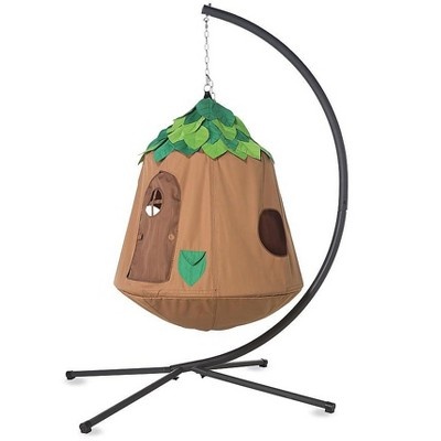 """HearthSong - Woodland HugglePod HangOut Special with Hanging Tent, LED Leaf Lights, and Stand, 48""""H x 44""""W, Holds Up To 250 lbs."""