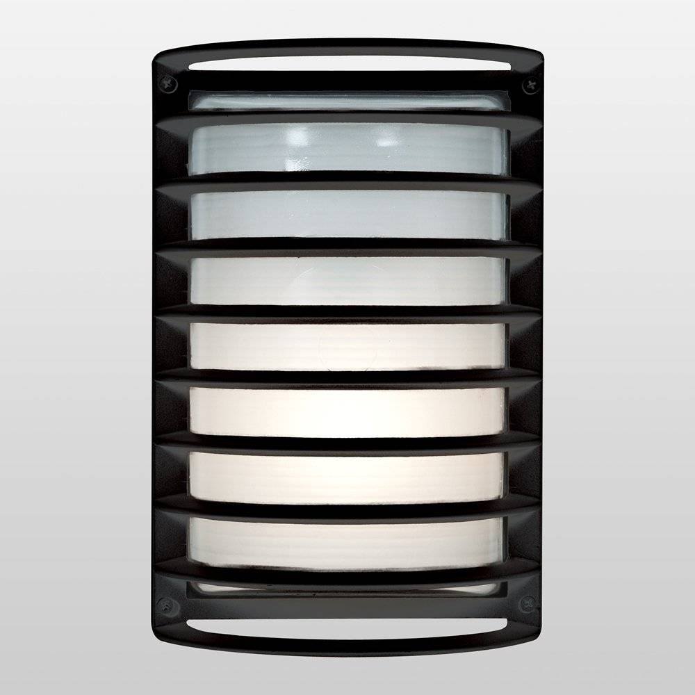 Image of 11 Bermuda Outdoor Wall Lights with Ribbed Frosted Glass Shade Black - Access Lighting