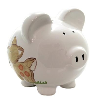 "Bank 7.75"" Woodland Piggy Bank Fox Deer Woodland Animals  -  Decorative Banks"