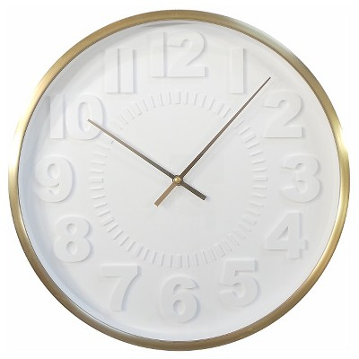 Raised Number 16  Wall Clock White/Brass - Threshold™