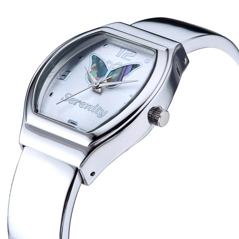 Women's Bangle Bracelet Watch with Butterfly on Dial - Silver