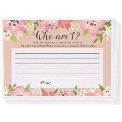 Best Paper Greetings Who Am I Guessing Game, Vintage Floral Game Cards for Rustic Wedding, Bridal Shower, Bachelorette Party, Up to 50 Guests