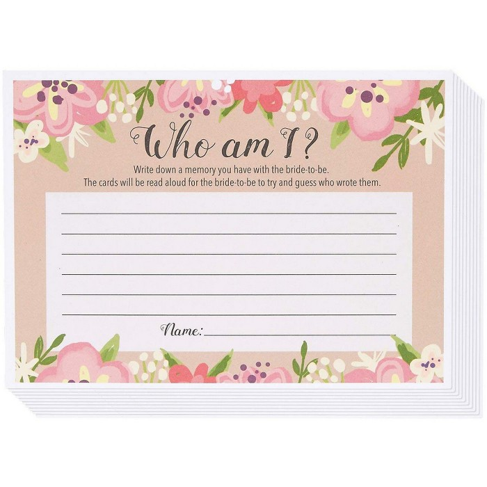 Best Paper Greetings Who Am I Guessing Game, Vintage Floral Game Cards For Rustic Wedding, Bridal Shower, Bachelorette Party, Up To 50 Guests : Target