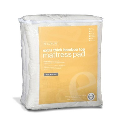 eLuxury Extra Thick Rayon from Bamboo Mattress Pad with Fitted Skirt