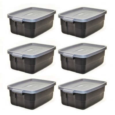 Rubbermaid Roughneck Tote 3 Gallon Stackable Storage Container w/ Cool Gray Stay Tight Lid & Easy Carry Handles, Black (6 Pack)