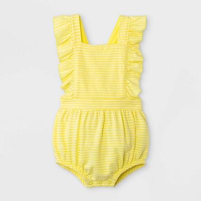 Baby Girls' Textured Romper - Cat & Jack™ Yellow 6-9M