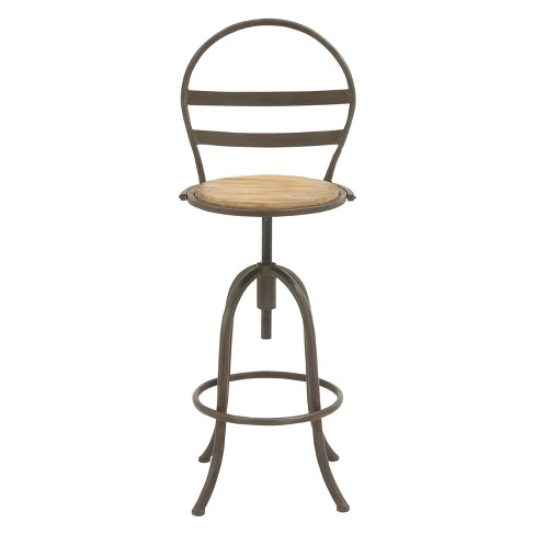 Cool Metal And Wood Bar Stool Round Seat With Back Brown Olivia May Bralicious Painted Fabric Chair Ideas Braliciousco