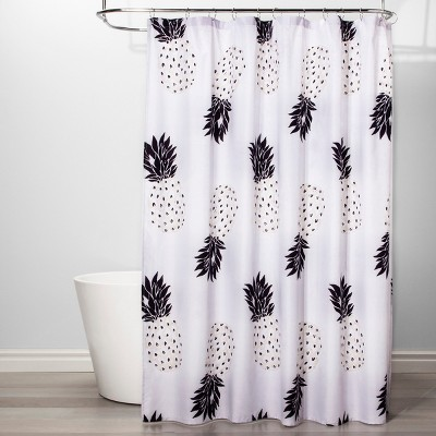 Pineapple Shower Curtain Black/White - Room Essentials™