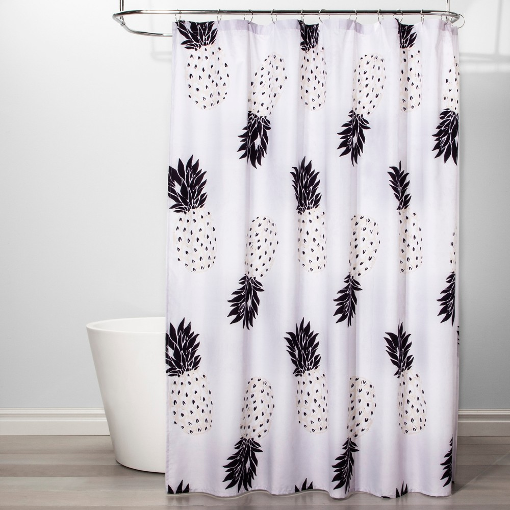 Pineapple Shower Curtain Black/White - Room Essentials