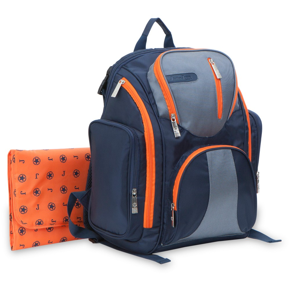 J is for Jeep Perfect Pockets System Back Pack Diaper Bag, Blue