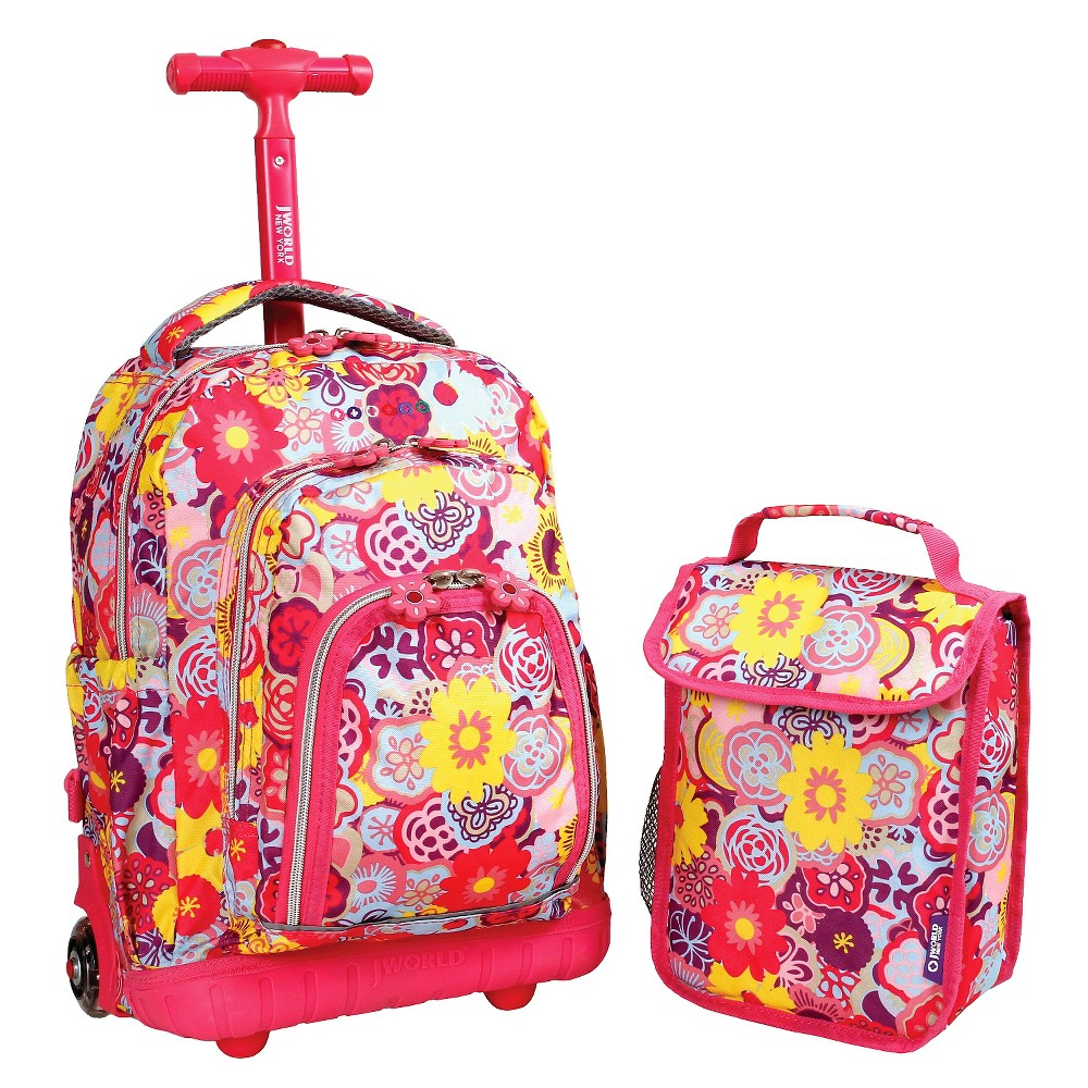 """Image of """"J World 16"""""""" Lollipop Rolling Backpack with Lunch Kit - Poppy Pansy"""""""