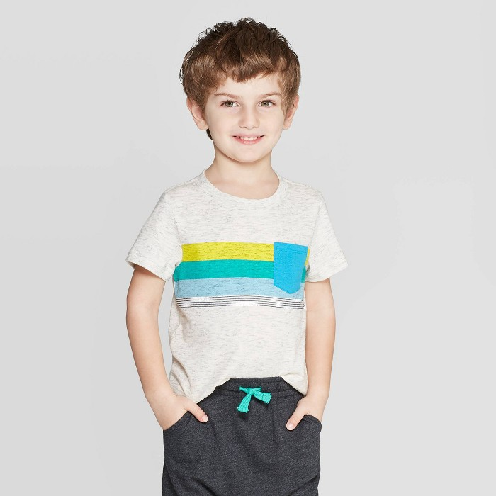 Toddler Boys' Elevated Texture Stripe T-Shirt - Cat & Jack™ Light Gray - image 1 of 3