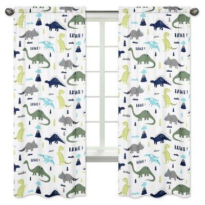 Sweet Jojo Designs Window Panels - Blue & Green Mod Dino - 2pk