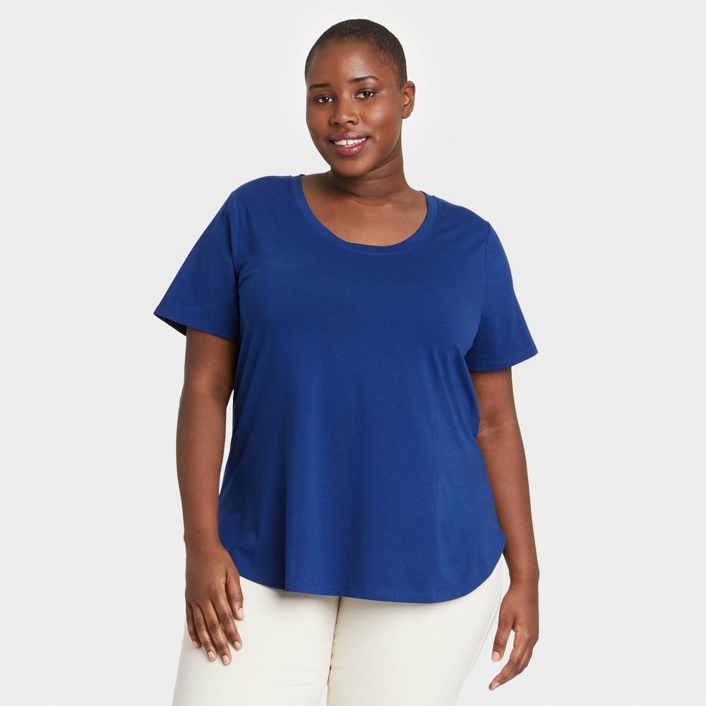 Women 39 S Plus Size Essential Relaxed Scoop Neck T Shirt Ava 38 Viv 8482 Blue 1x