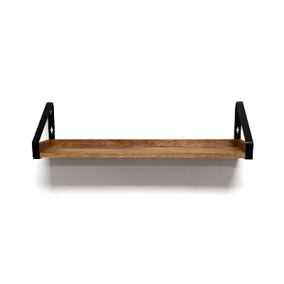 "5"" x 24"" Real Wood Ledge with Rustic Metal Bracket Mango - InPlace"