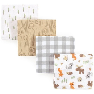 Hudson Baby Unisex Baby Cotton Flannel Receiving Blankets - Woodland One Size