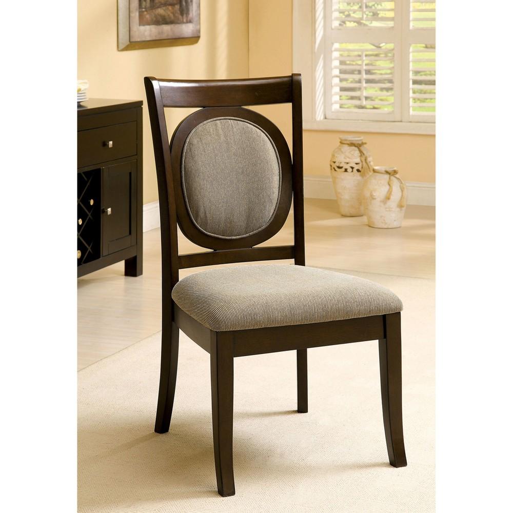 Sun & Pine Oval Back Padded Side Chair Wood/Dark Walnut (Set of 2)