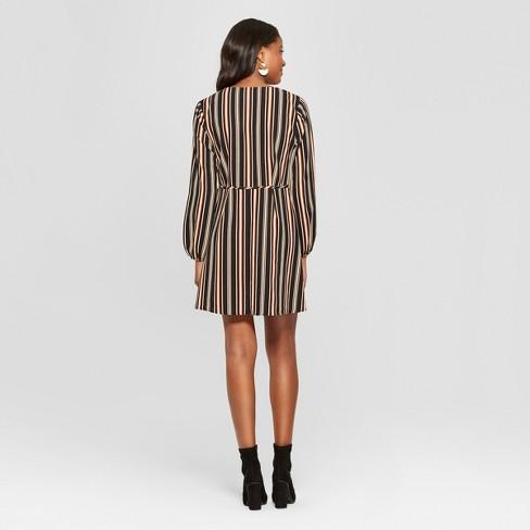 62cde363b067 Women's Striped Long Sleeve Wrap Dress - Xhilaration™ Black/Coral XXL :  Target