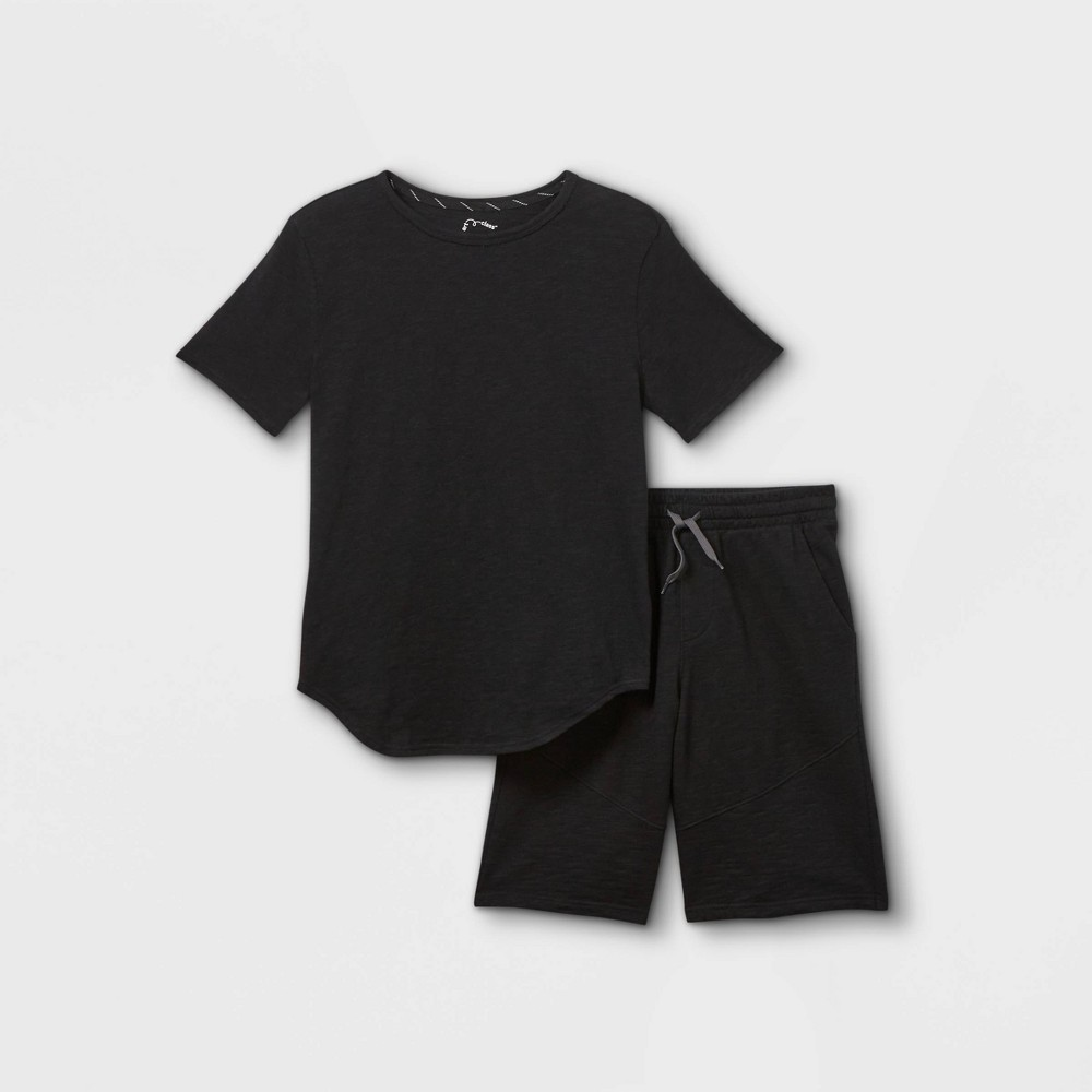 Boys 39 2pc French Terry Short Sleeve Top And Bottom Set Art Class 8482 Black S
