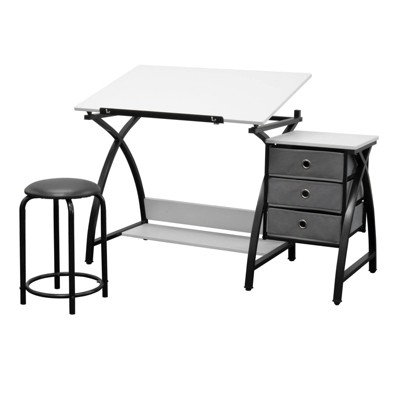 Studio Designs Comet Center Tilting Arts & Crafts Table with Stool, Black/White