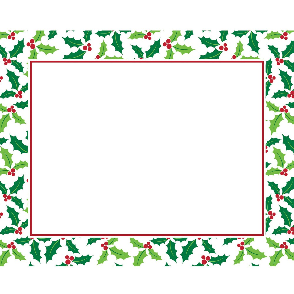 Image of 12ct Holly Placemats Green, White Green