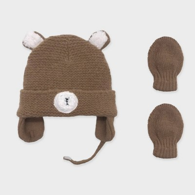 Baby Boys' Knit Teddy Beanie and Basic Magic Mittens Set - Cat & Jack™ Brown Newborn
