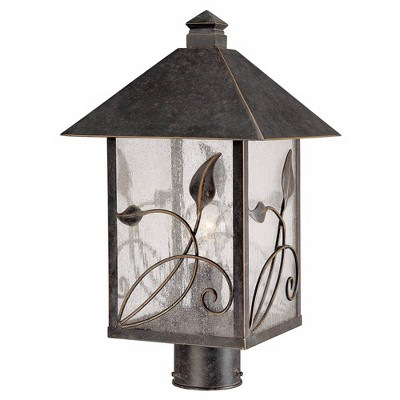 """Franklin Iron Works Country Cottage Post Light French Bronze Leaf and Vine Motif 17"""" Clear Seedy Glass for Exterior Garden Yard"""