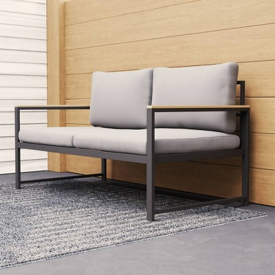 Outdoor Metal Loveseat with Seat Cushions