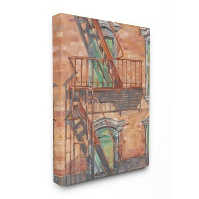 Stupell Industries Cityscape Fire Escape Green Red Painting
