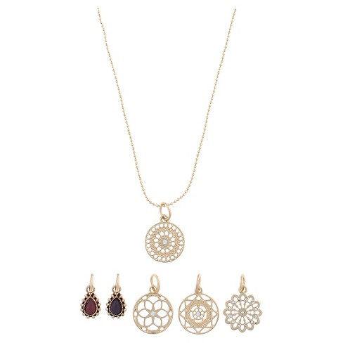 Women's Necklace Interchangeable Chakra Charms - Gold - image 1 of 2