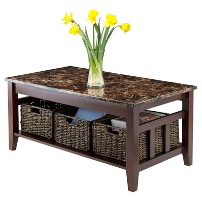 Beau Zoey Coffee Table Faux Marble Top With Baskets   Walnut, Chocolate    Winsome : Target