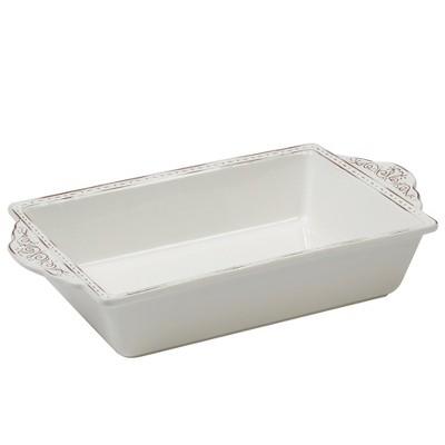 Certified International Terra Nova Ceramic Baking Pan 16.5  x 9.5  - White/Brown