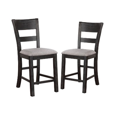 """2pc 19"""" Dyer Slat Back Counter Height Barstools Black - HOMES: Inside + Out"""
