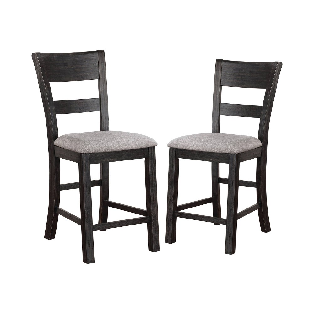"""Image of """"2pc 19"""""""" Dyer Slat Back Counter Height Chairs Black - ioHOMES"""""""