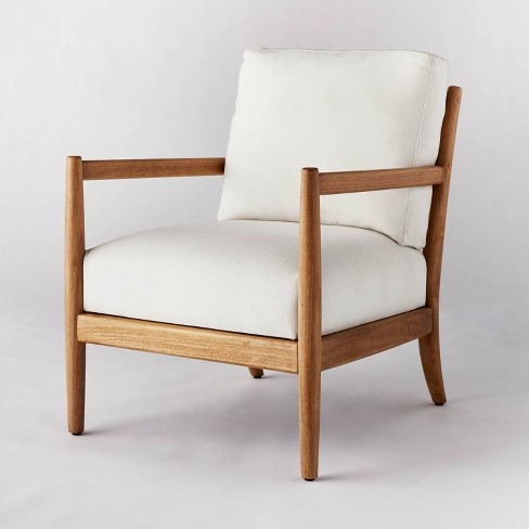 Ladder Back Wood Arm Accent Chair Cream - Threshold designed with Studio McGee - image 1 of 4