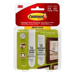 Command Large and Medium Sized Picture Hanging Strips Mega-Pack (12 Sets of Medium/16 Sets of Large) White