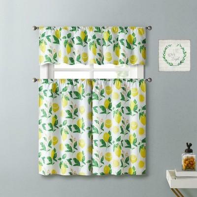 Kate Aurora Country Lemon Vine Complete 3 Piece Kitchen Curtain Tier & Valance Set - 58 in. W x 56 in. L, Multi