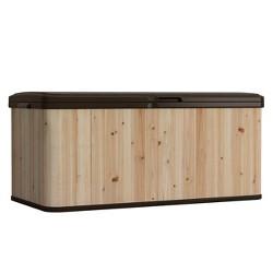 Suncast WRDB12000 120 Gallon Extra Large Hybrid Deck Box w/ Resin Floor and Lid